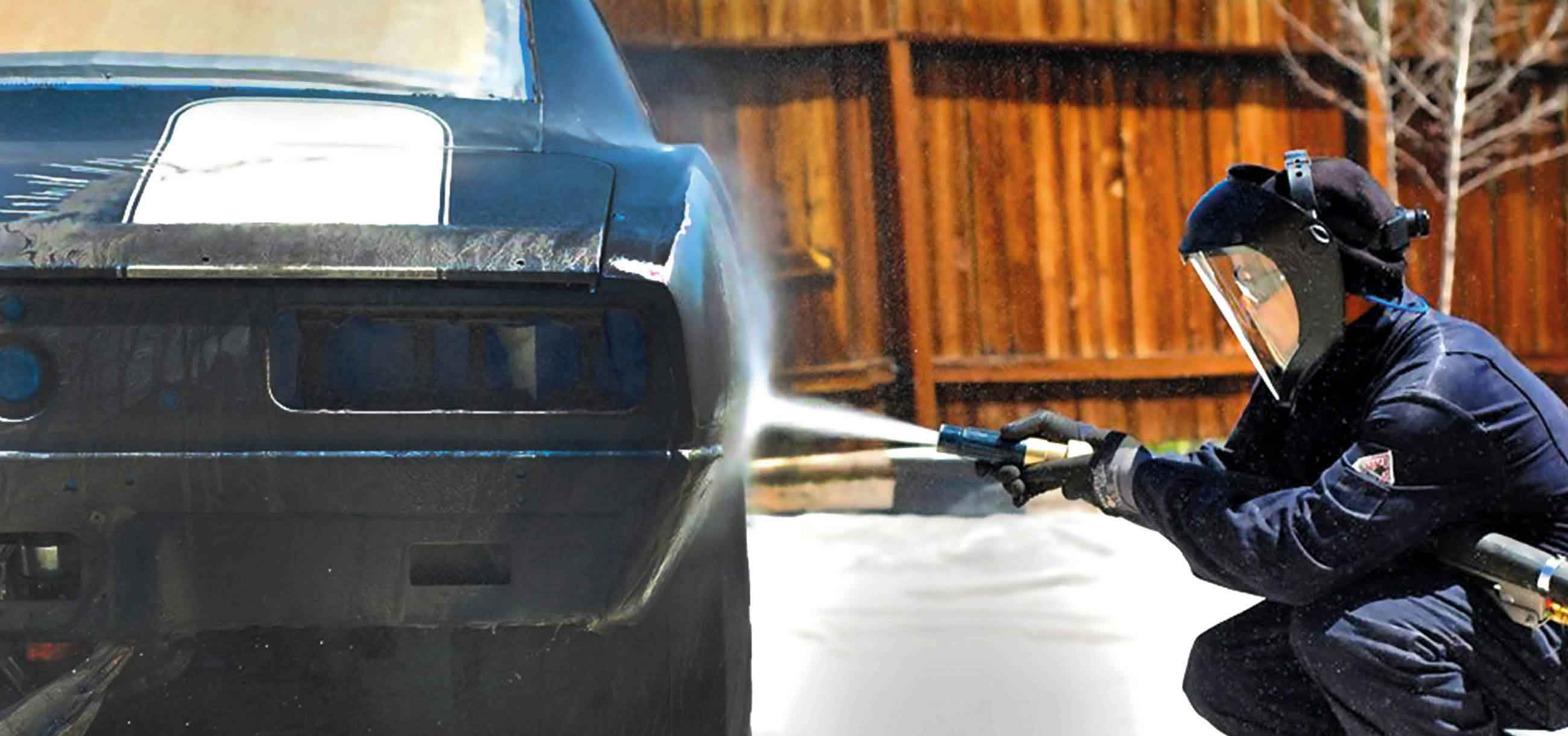 blasting paint off sports car