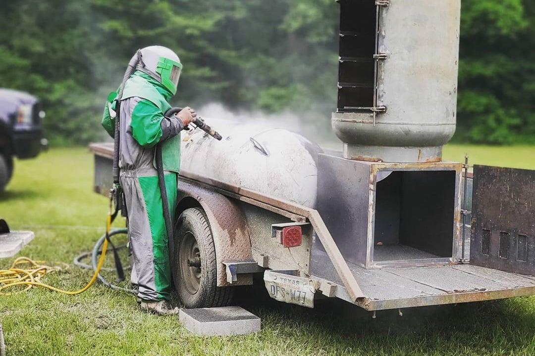 abrasive blasting a trailer