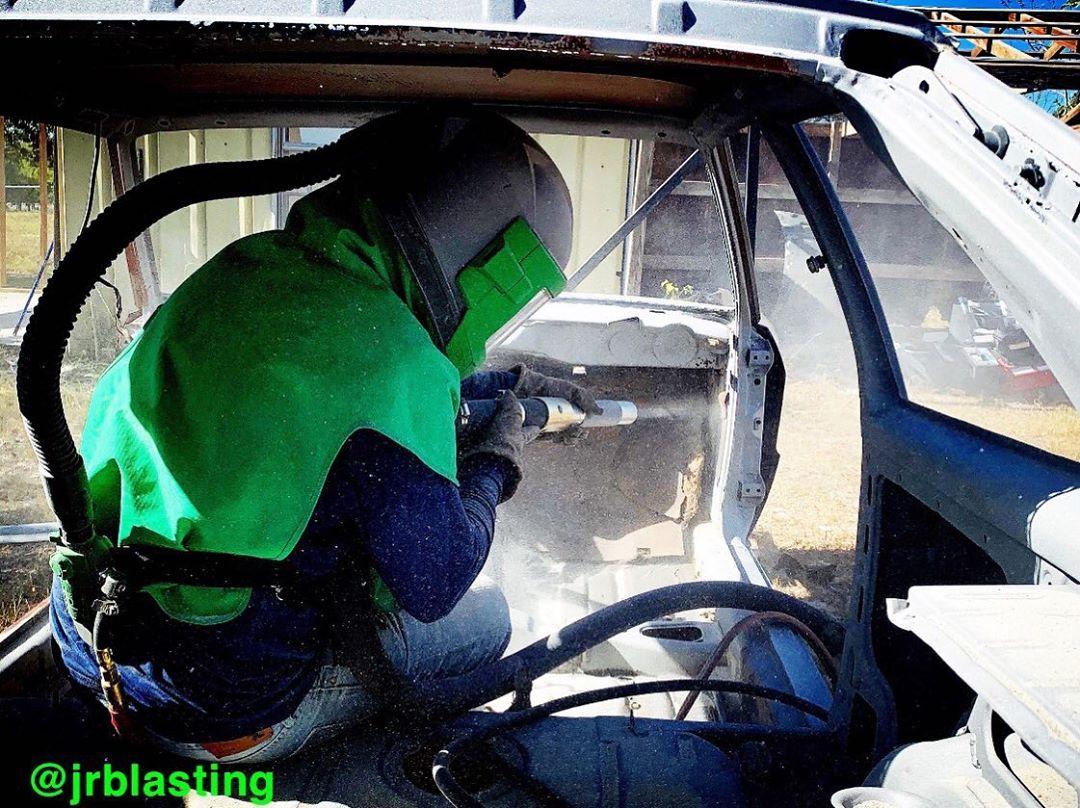 sandblasting a car interior