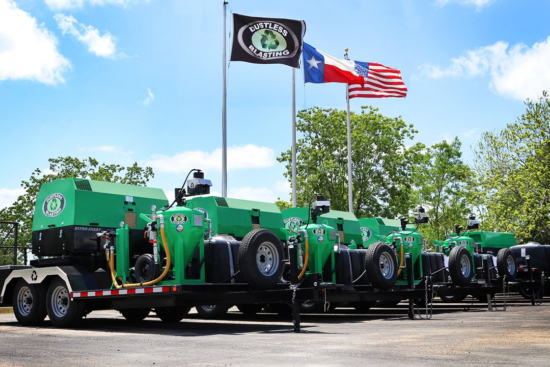 DB500 Mobile XL trailers lined up under flagpoles