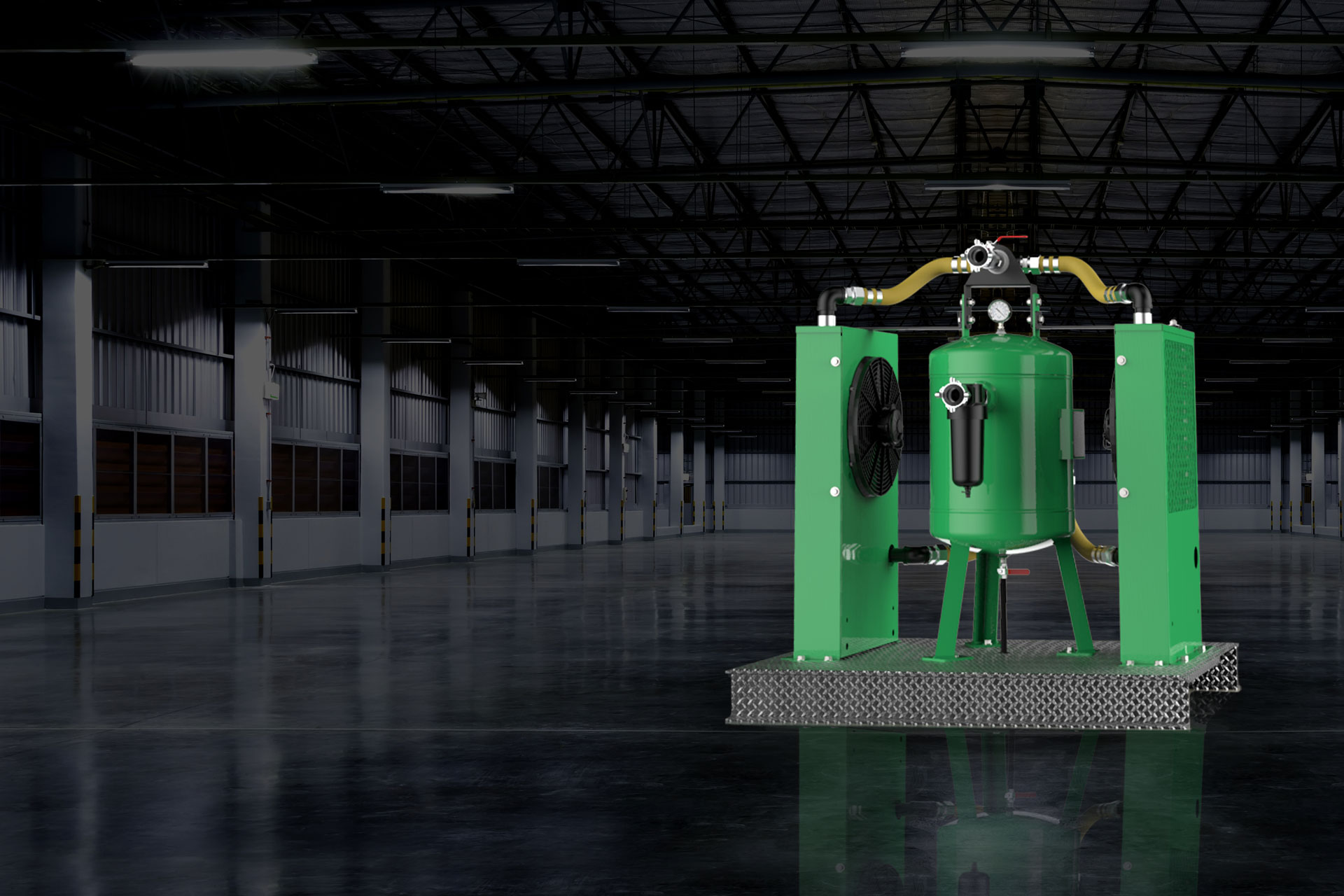 adcs-2500 air drying and cooling system in warehouse
