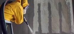 blasting paint off fleet truck