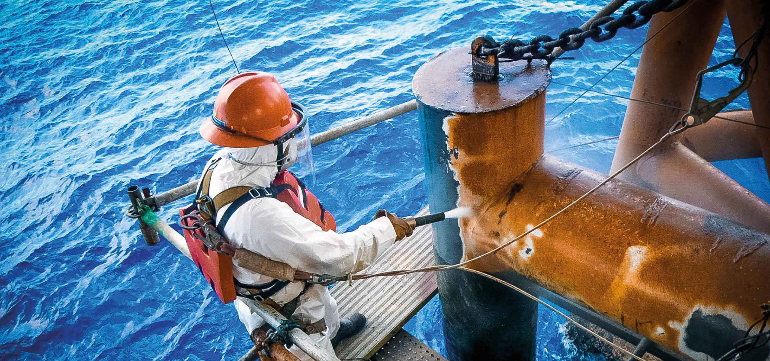 removing rust from large offshore pipes