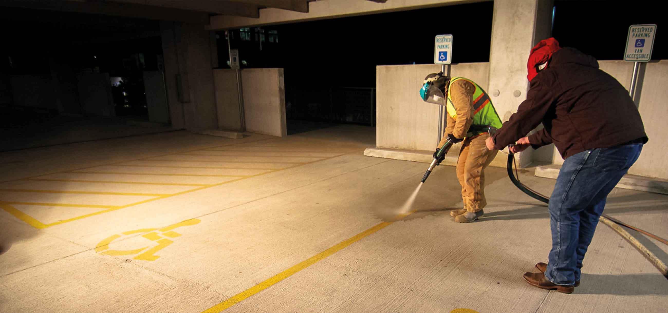 removing parking line stripe