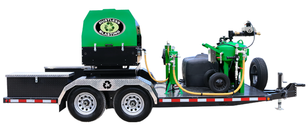 DB500 mobile xl green dustless blasting pot and compressor on trailer