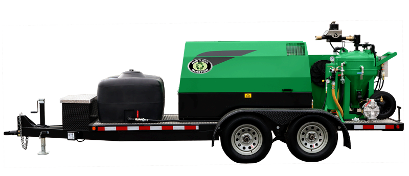 DB500 mobile green dustless blasting pot and compressor on small trailer