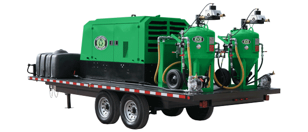 dual DB800 mobile green dustless blasting pot and compressor on trailer
