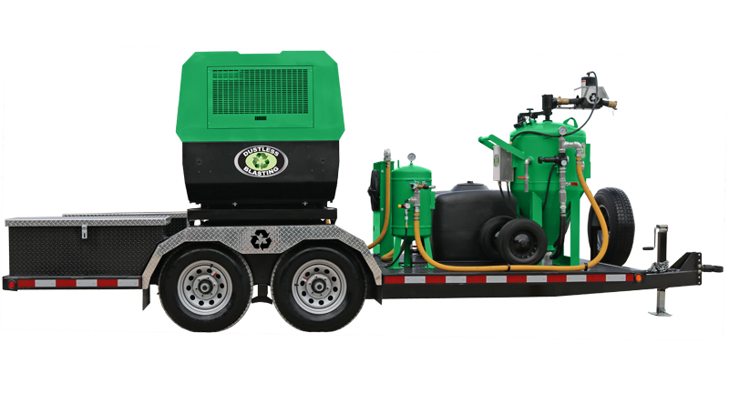 DB800 mobile green dustless blasting pot and compressor on trailer