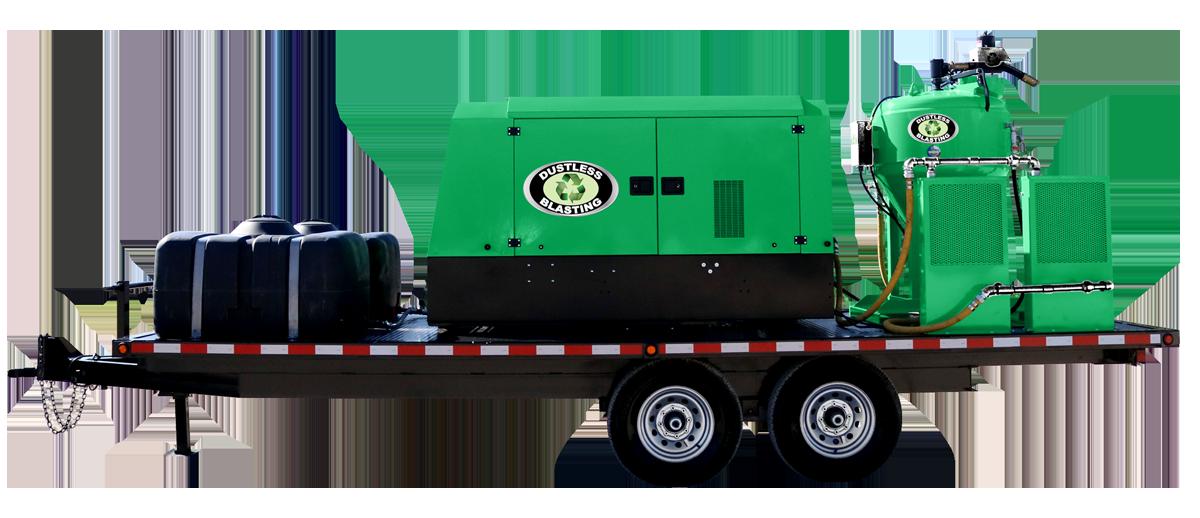 DB1500 compressor and blast pot on trailer