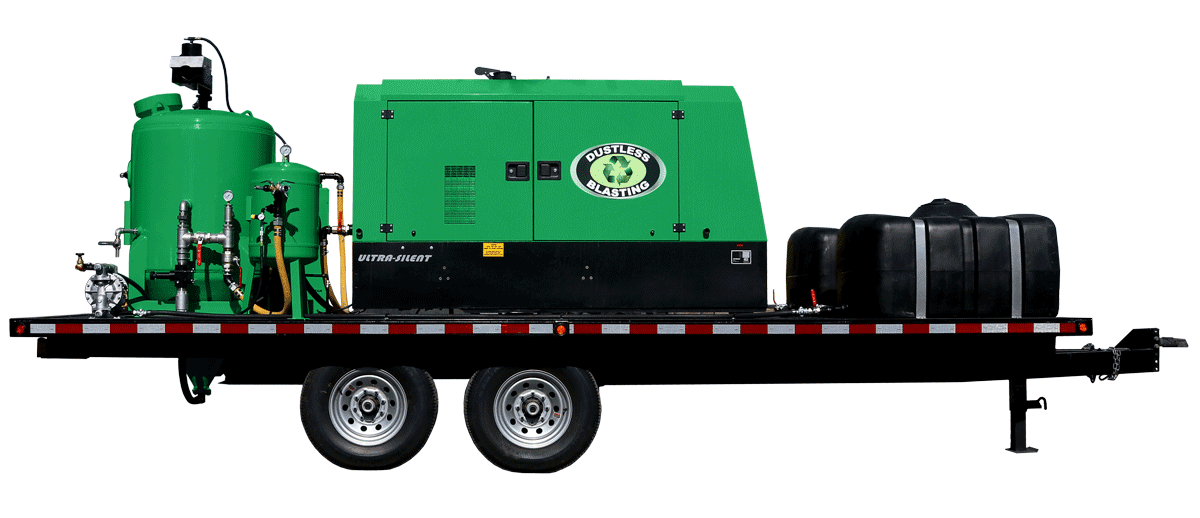 DB3000 compressor and blast pot on trailer