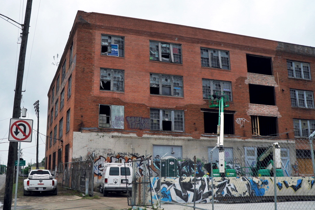 graffitied building in need of restoration