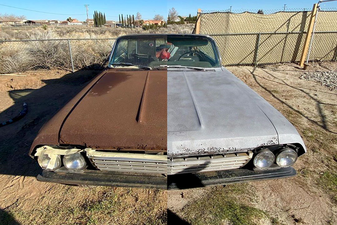 rusty 62 impala being restored