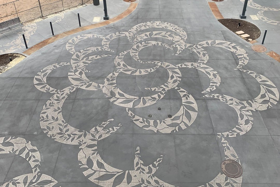 decorative etched concrete design