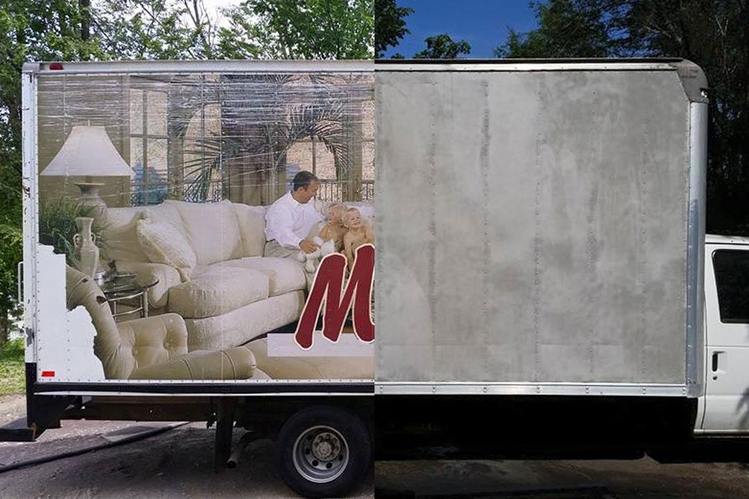 isuzu box truck stripped of paint and graphics