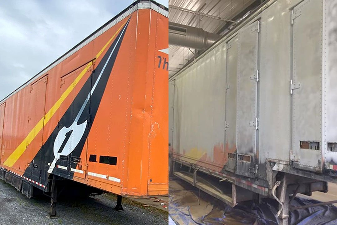paint and graphics stripped from moving truck