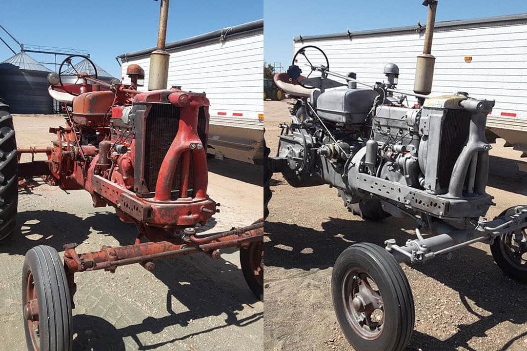 red tractor paint removal