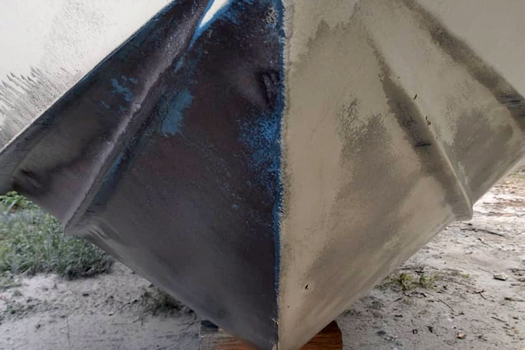 bottom paint removal from marine hull