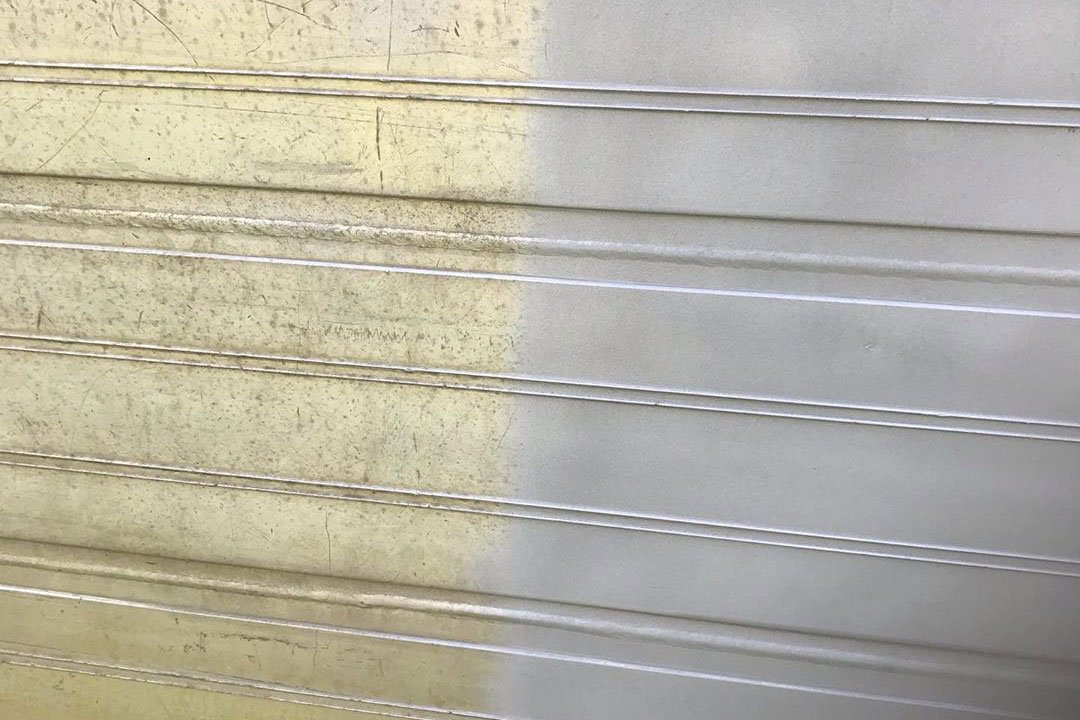 paint removed from corrugated metal