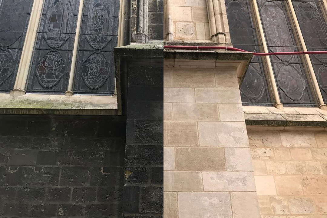 soot removal from stone building