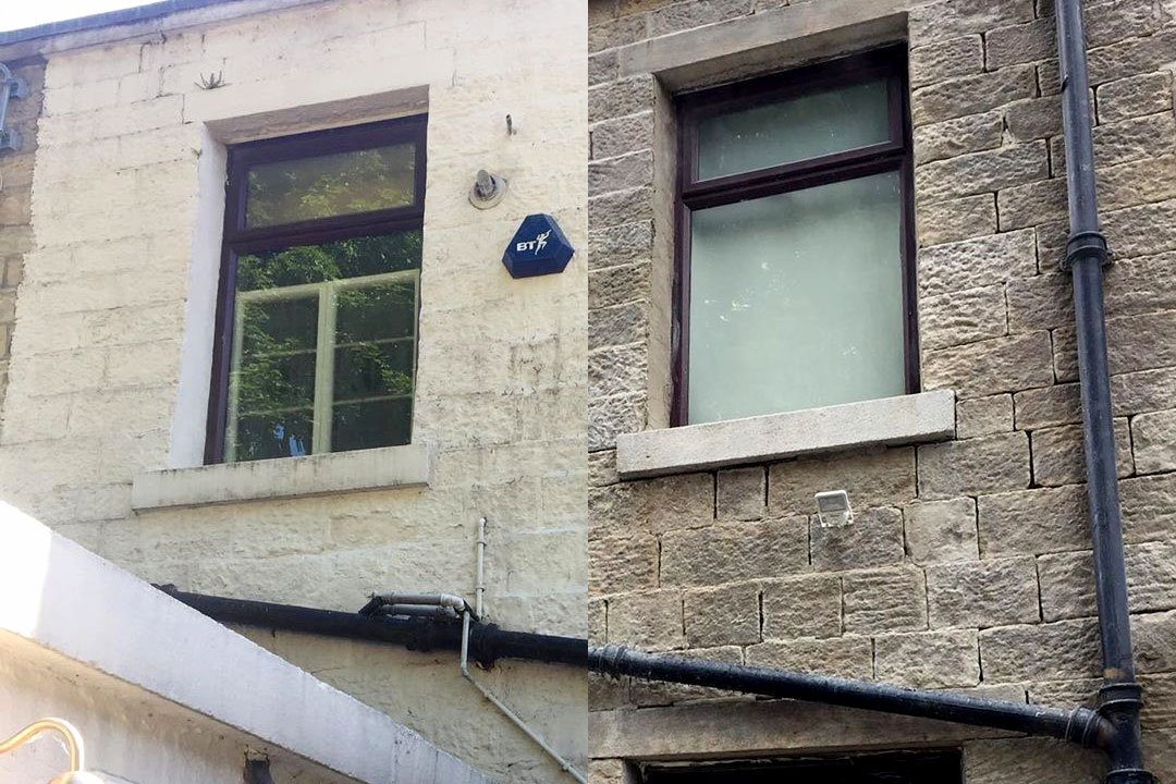 white paint removed from a stone building