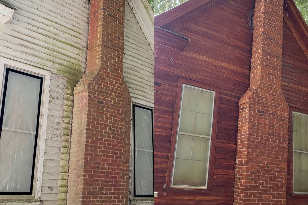 white paint removed from cedar siding