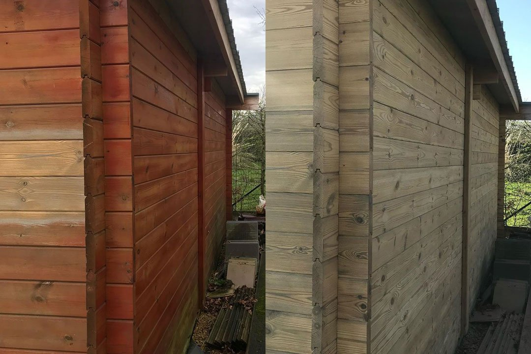 removing red stain from wood house