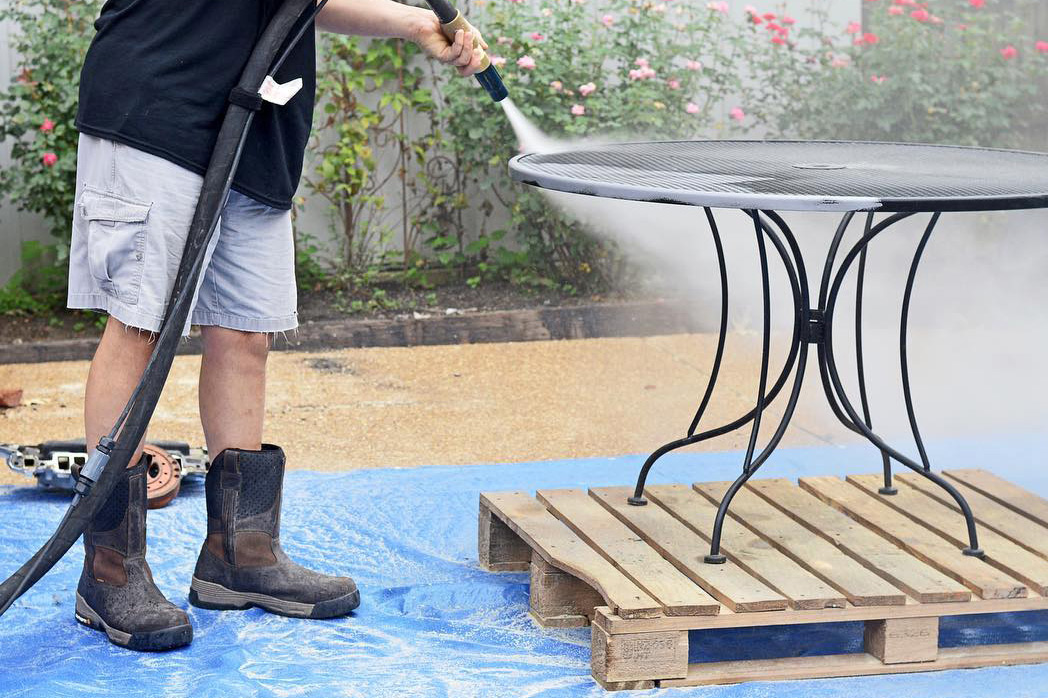 cleaning black paint off patio furniture