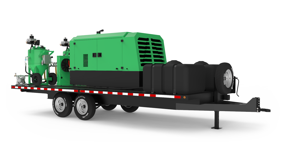 DB800 Mobile Dual XXL blast unit on trailer