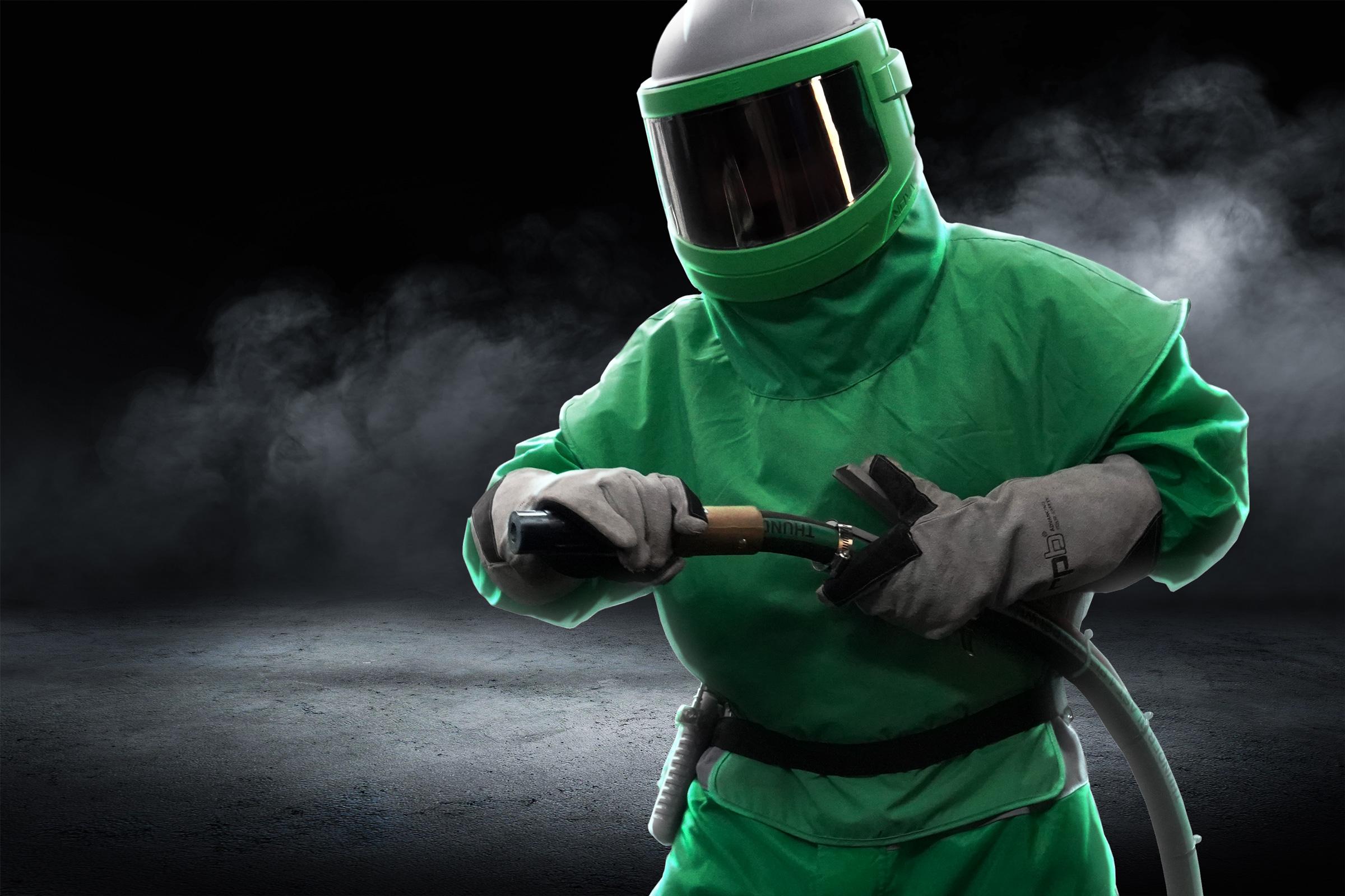 person wearing a RPB nova 3 sandblasting respirator