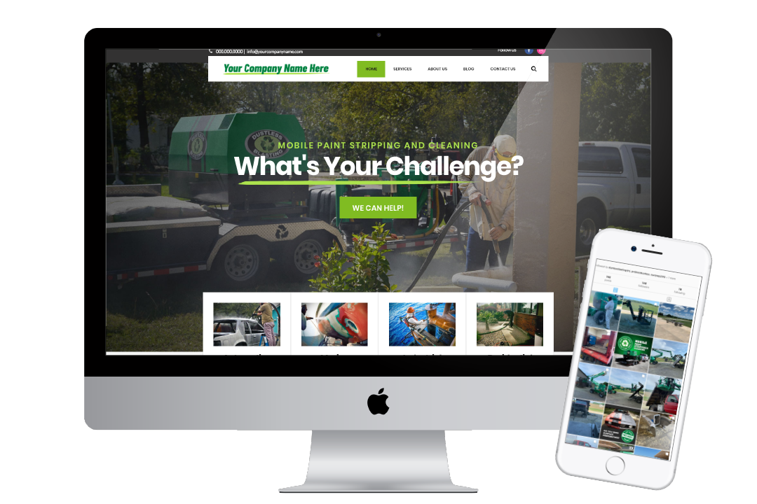 website and social media to promote a dustless blasting business