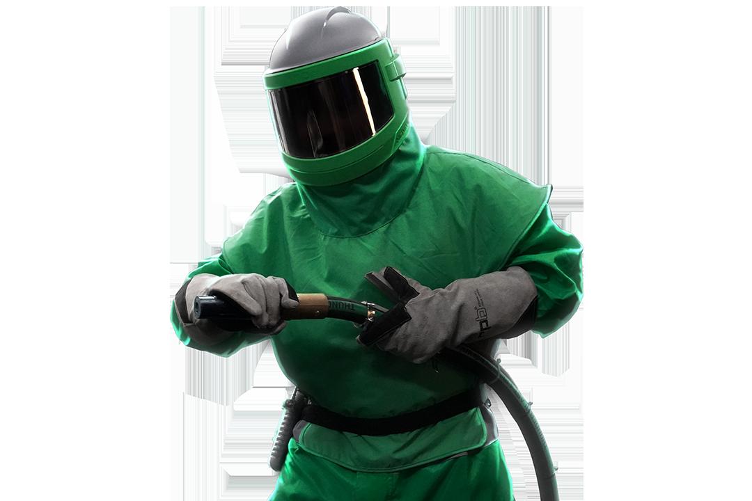 man wearing a nova 3 blast respirator