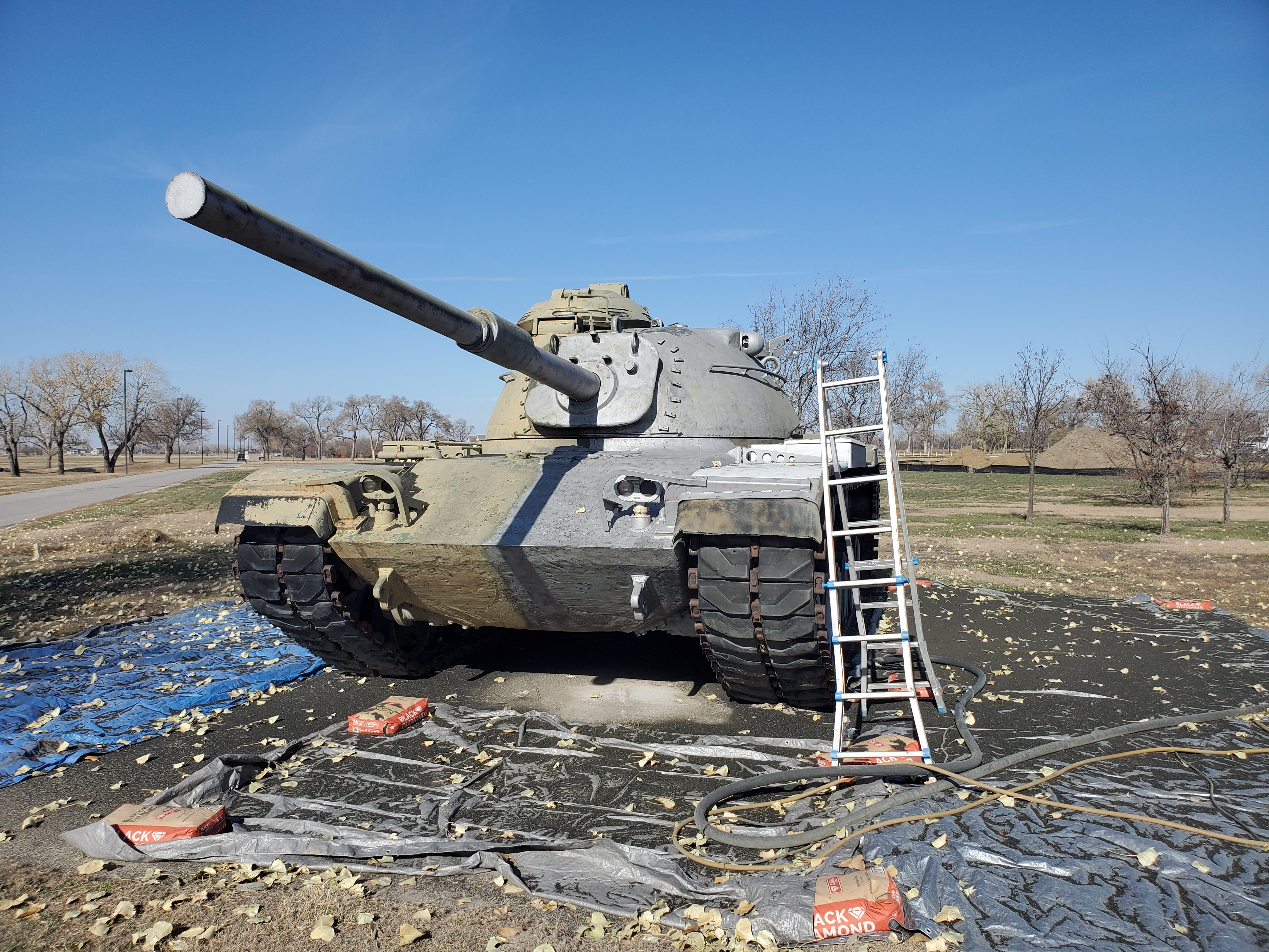 Dustless blasting on a Patton Tank
