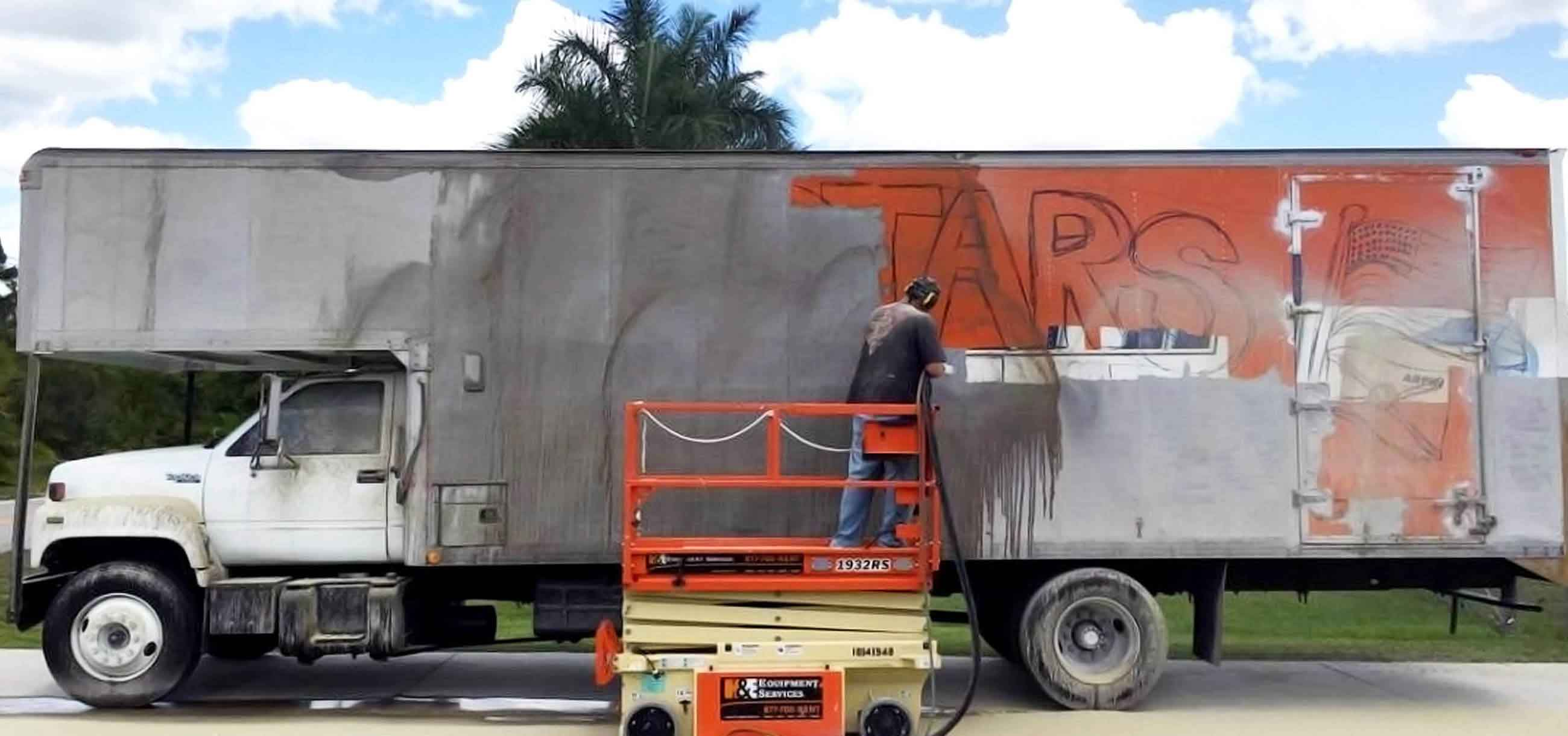 paint removal from a moving truck