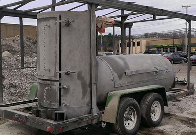 trailer powder coat stripping after