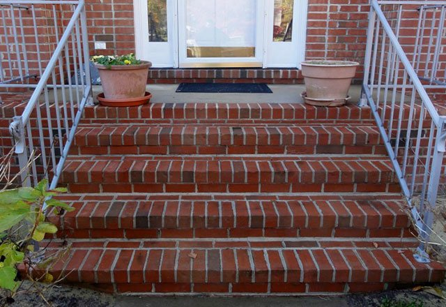 cleaned brick stairs after