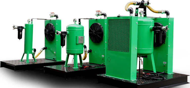 Trio of air drying and cooling machines