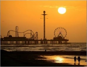 Galveston Beach at Sunset with Rollercoaster