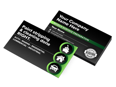 business cards for abrasive blasting service