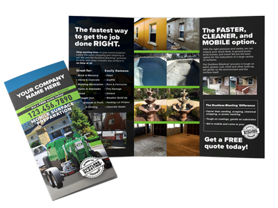 trifold brochure for a dustless blasting business