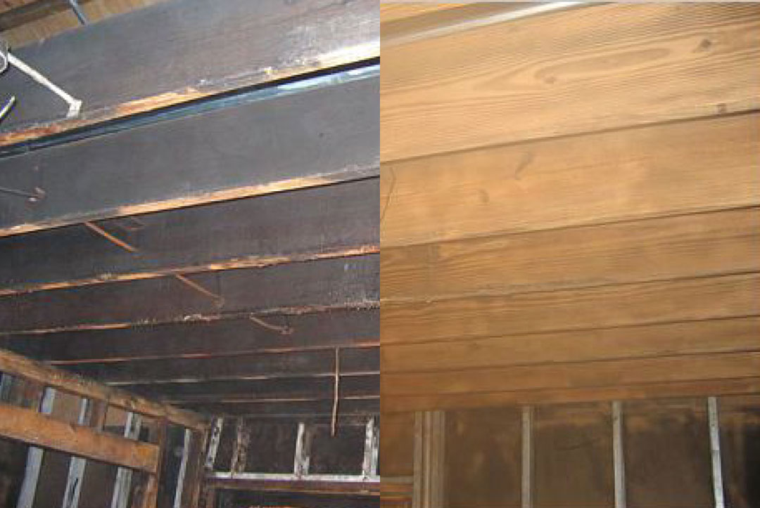 Fire remediation on wood ceiling