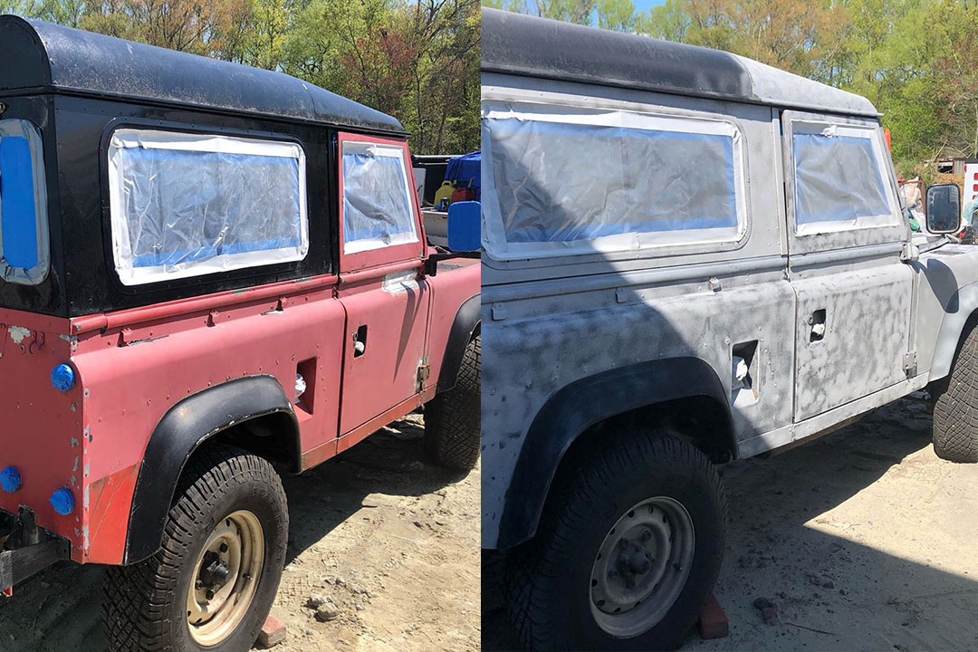 land rover paint stripping before and after