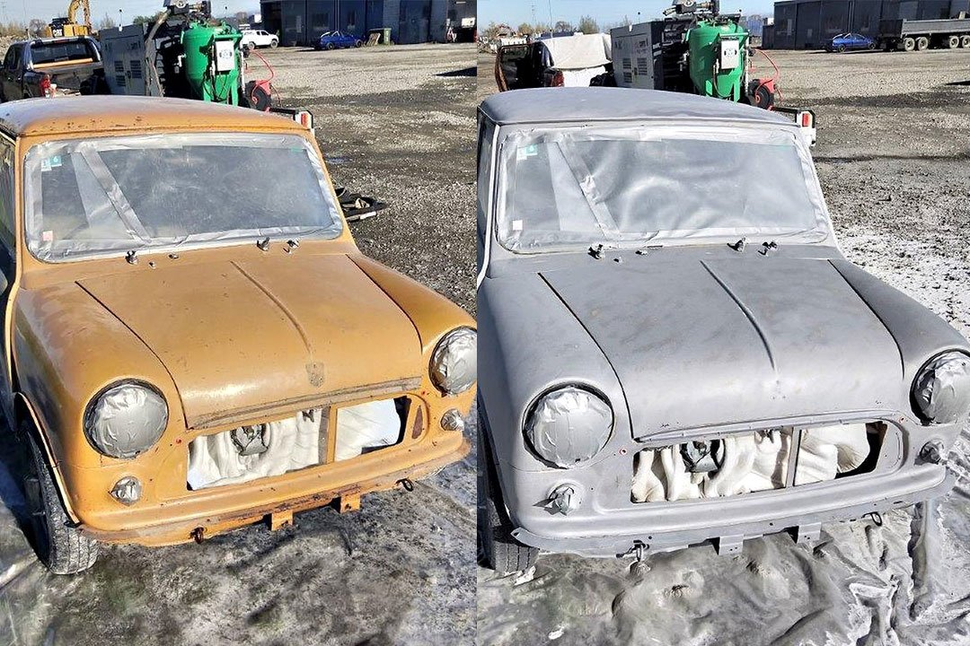 brown paint stripped from old car