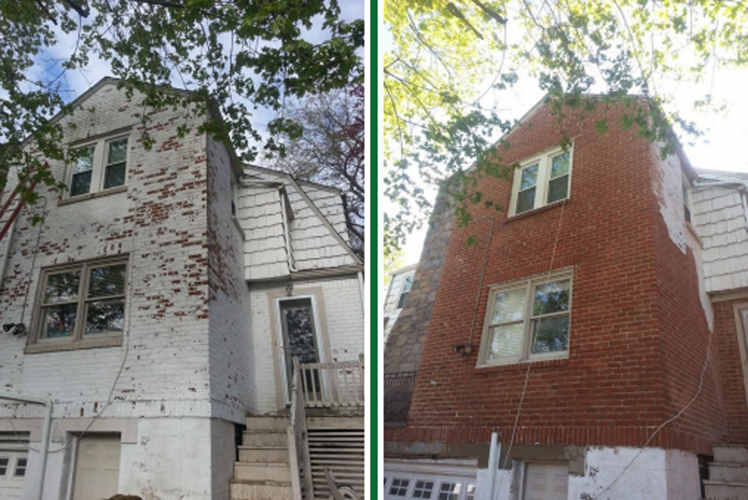 white paint removal from two story brick house