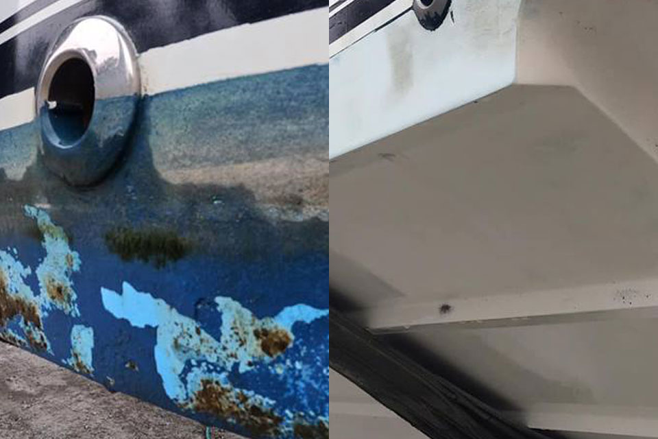 paint and barnacles removed from boat hull for maintenance