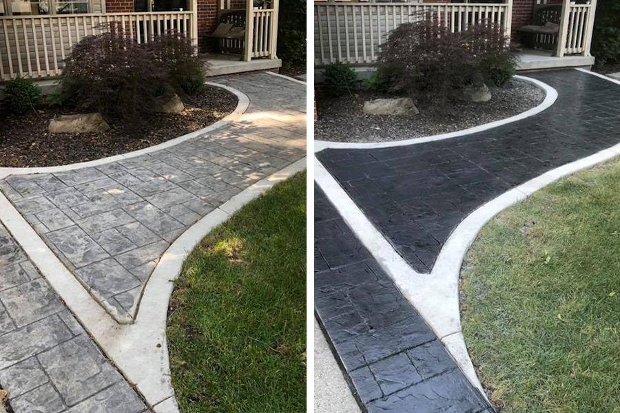 restored stamped concrete walkway