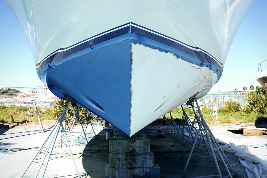 blue paint removed from viking yacht hull