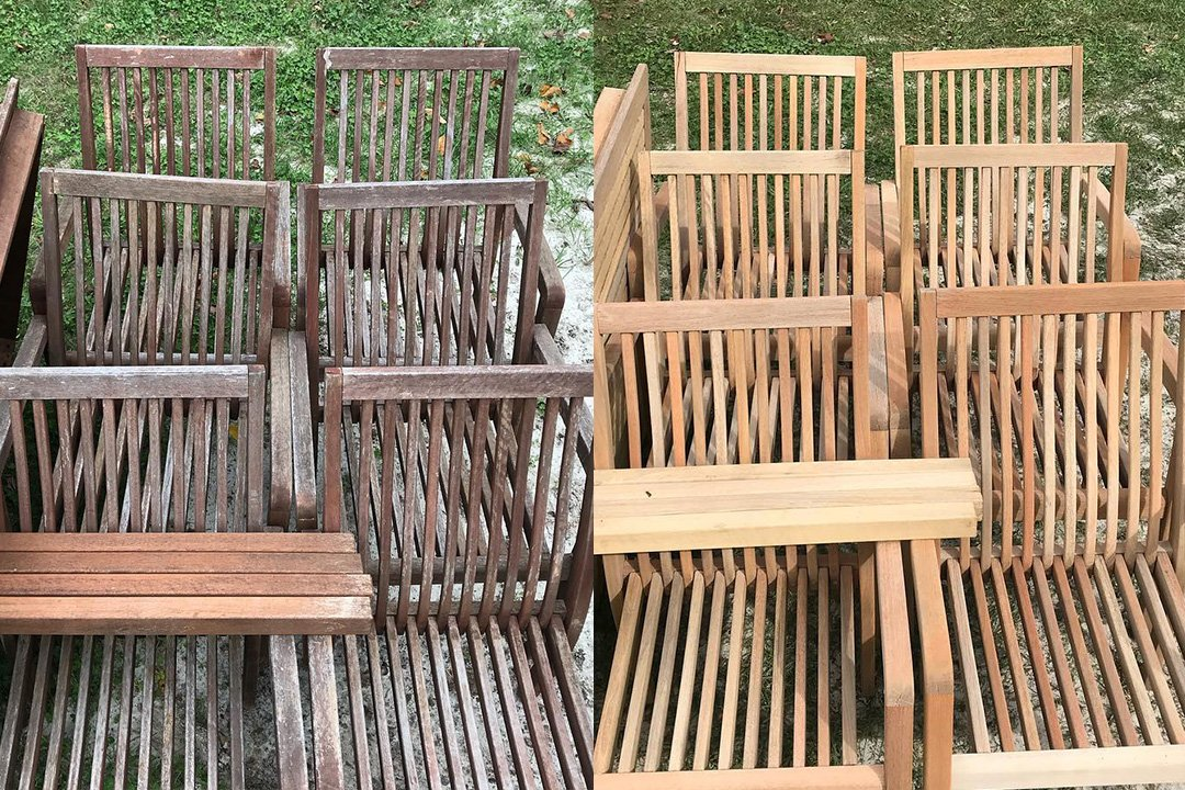 wooden patio chairs restored