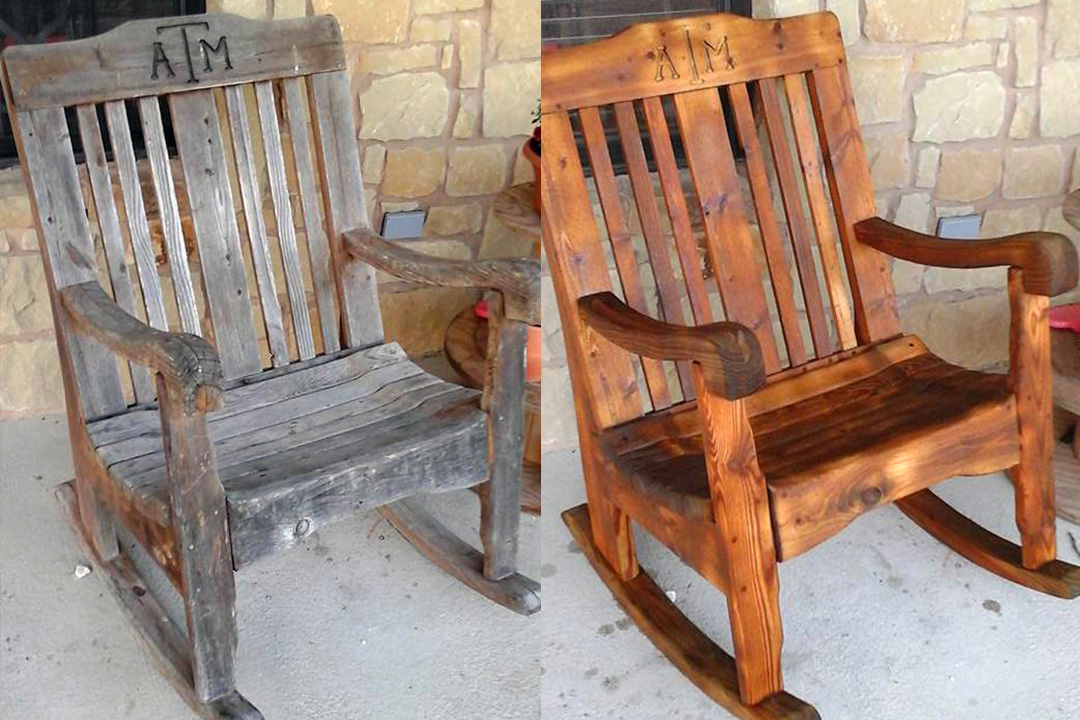 weathering removed from custom wood rocking chair